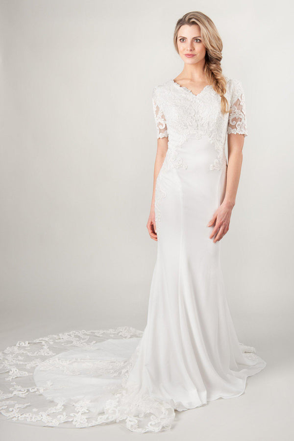 modest crepe wedding dresses with lace sleeves and train at LatterDayBride