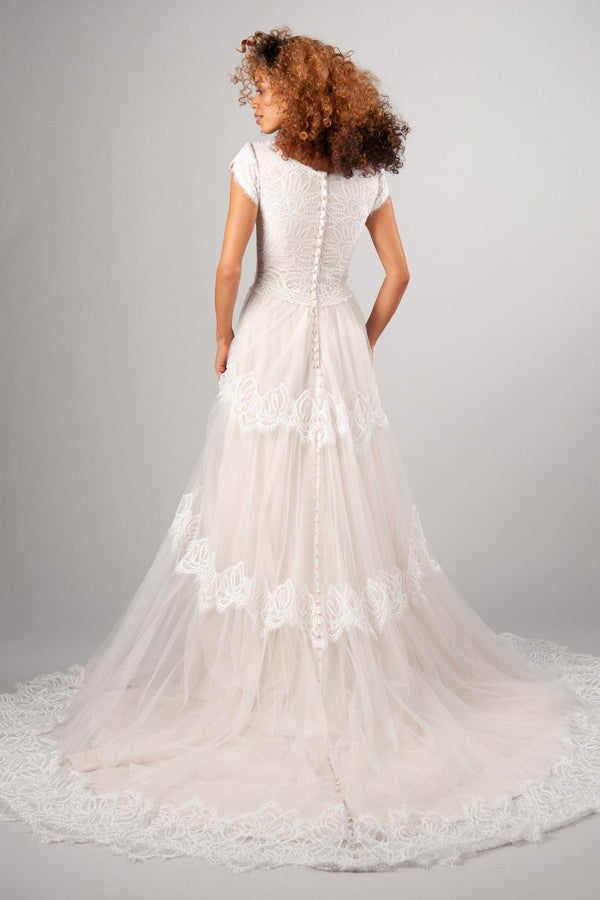 Back of Modern modest wedding dress, style Easton, is part of the LatterDayBride Collection, a Utah wedding dresses.