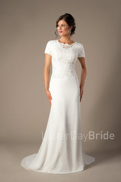 bateau lace neckline, complimented by a fitted chiffon skirt, modest utah wedding gown, front view
