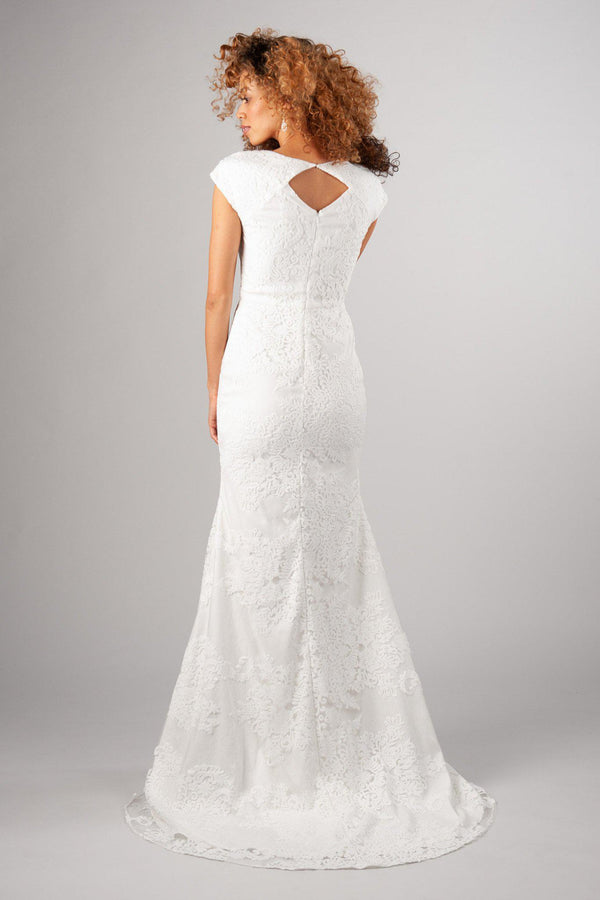 Back of Flattering fit with soft and romantic lace modest wedding gown, style Woodbury, is part of the Wedding Collection of LatterDayBride, a Utah Wedding Shop.