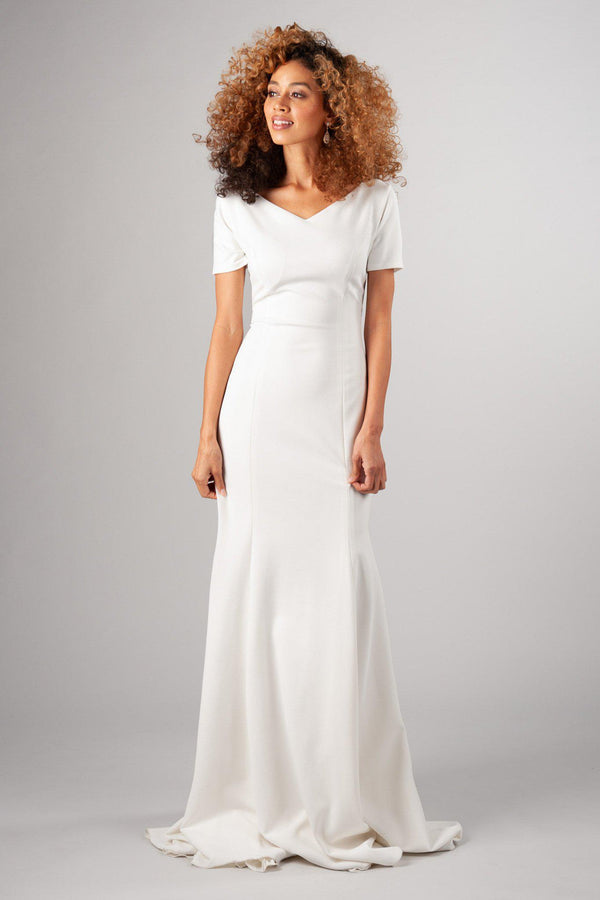 imple lines, darling sleeve and the freeing stretch of this fabric, modest wedding dress, utah wedding gowns, front view