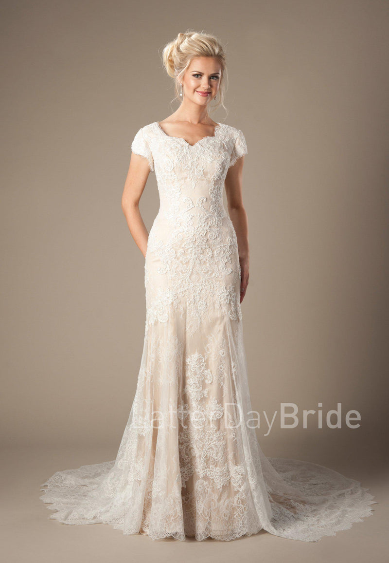 Mermaid silhouette wedding gown with soft lace overlay, style Josephine, is part of the Wedding Collection of LatterDayBride, a Salt Lake City bridal shop.