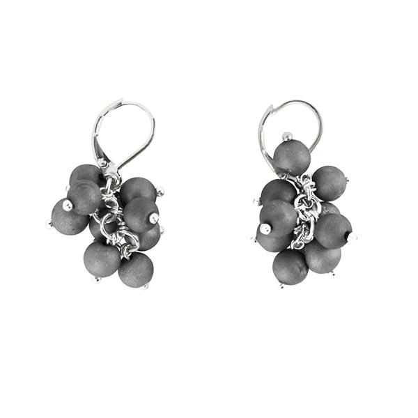 Silver/Slate Agate Cluster Earrings