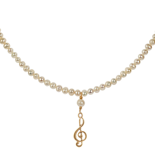 Cultured Pearl Choker with Gold Treble Clef Charm