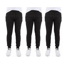 [3-Pack] French Terry Joggers with Zipper Pocket - 3 Choices Activewear Black - Black - Black - Small