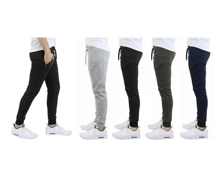 [3-Pack] French Terry Joggers with Zipper Pocket - 3 Choices Activewear