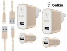 [2-Pack] Belkin MIXIT Apple Lightning MFI Cable + Home & Car Chargers Power Adapters & Chargers