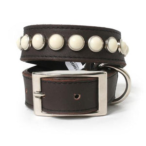 Ivory Cabs on Chocolate Leather Dog Collar