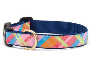 Pink Madras Plaid Dog Collar