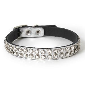Clear Crystals on Silver Leather Dog Collar