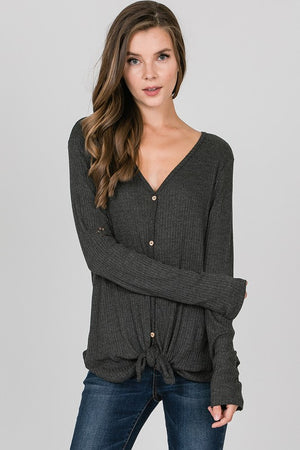 Liz Long Sleeve Waffle Knit Top - Other Colors Available