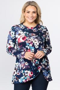 Paula Knotted Floral Tunic - Plus Size