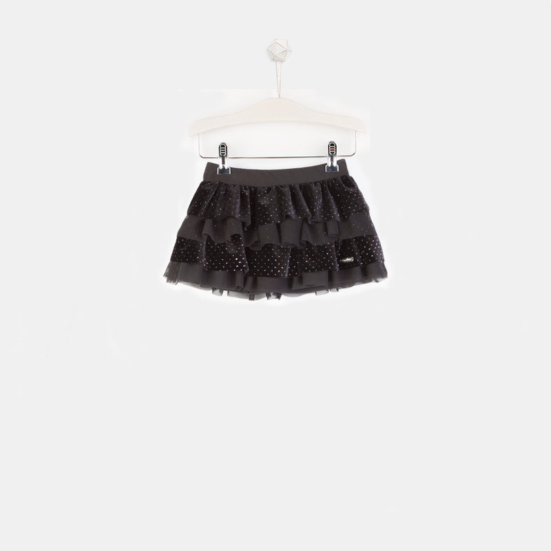 Girls Black Combined Skirt