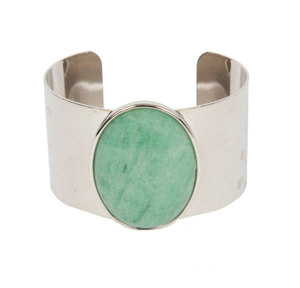 aventurine, stone, cuff, green stone, minimalist cuff, second daughter jewelry, mothers day gift, designer jewelry, bold jewelry, silver plated jewelry, second daughter, washington dc designer, jessica speckhard