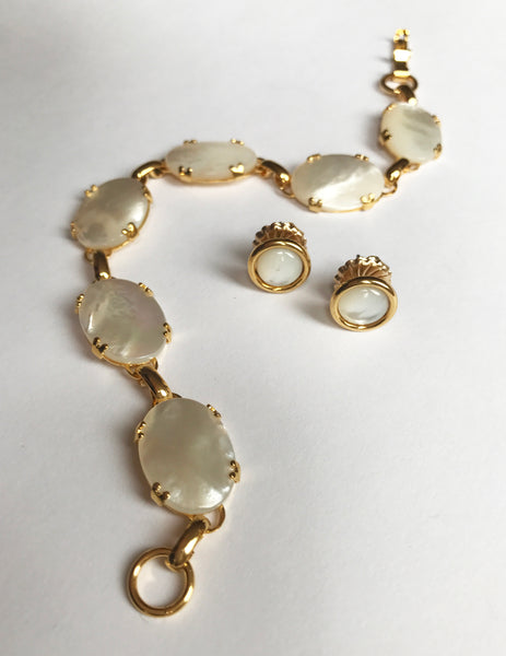 mother of pearl, bracelet, studs, gold plated, gold, stones, link, delicate jewelry, mothers day gift, cabochon, prong setting, handmade jewelry, made in the united states, american made