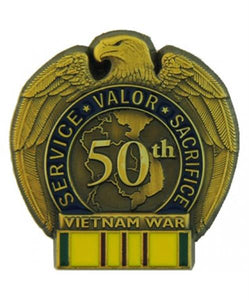 50th Anniversary Vietnam War Pin - Vietnam Service Ribbon