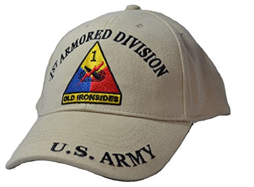 Mens 1st Armored Division Tan Embroidered Ball Cap Adjustable Tan