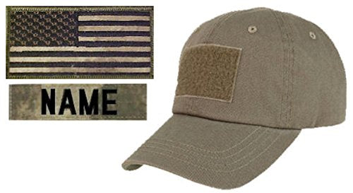 Tactical Cap Package with U.S. Flag Patch and Personalized Name Tape - Various Colors