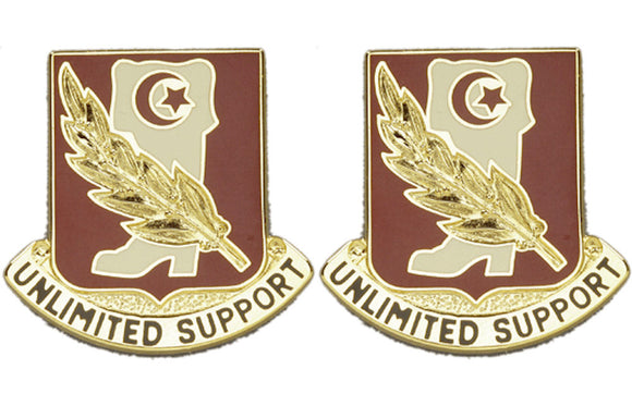105th Support Battalion Distinctive Unit Insignia - Pair - UNLIMITED SUPPORT