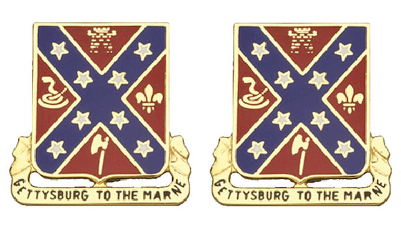 107th Field Artillery Distinctive Unit Insignia - Pair - GETTYSBURG TO THE MARNE