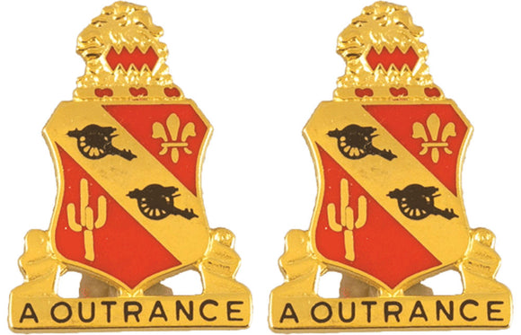 112th Field Artillery Distinctive Unit Insignia - Pair - A OUTRANCE