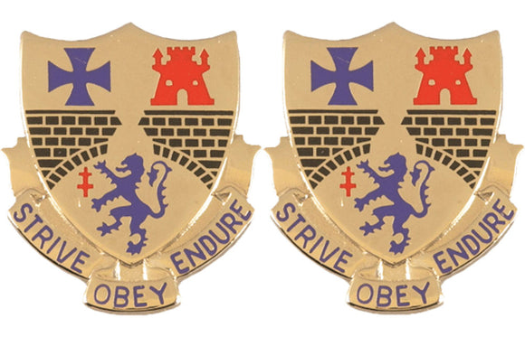 112th Infantry Distinctive Unit Insignia - Pair - STRIVE OBEY ENDURE