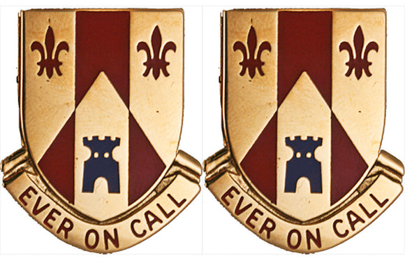 115th Field Artillery Distinctive Unit Insignia - Pair - EVER ON CALL