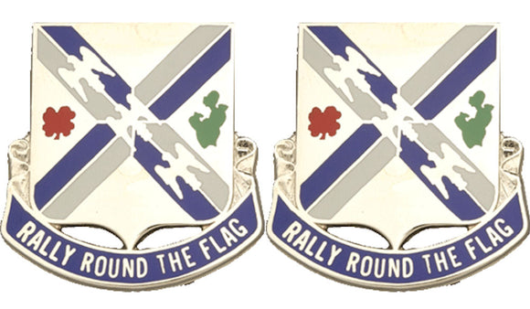115th Infantry Distinctive Unit Insignia - Pair - RALLY ROUND THE FLAG
