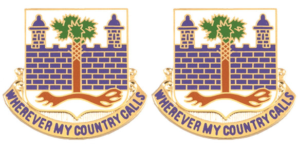 118th Infantry Distinctive Unit Insignia - Pair - WHEREVER MY COUNTRY CALLS