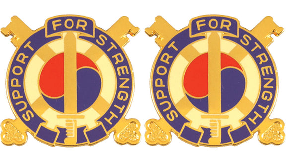 142nd Support Battalion Distinctive Unit Insignia - Pair - SUPPORT FOR STRENGTH