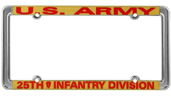 U.S. Army 25th Infantry Division Thin Rim License Plate Frame