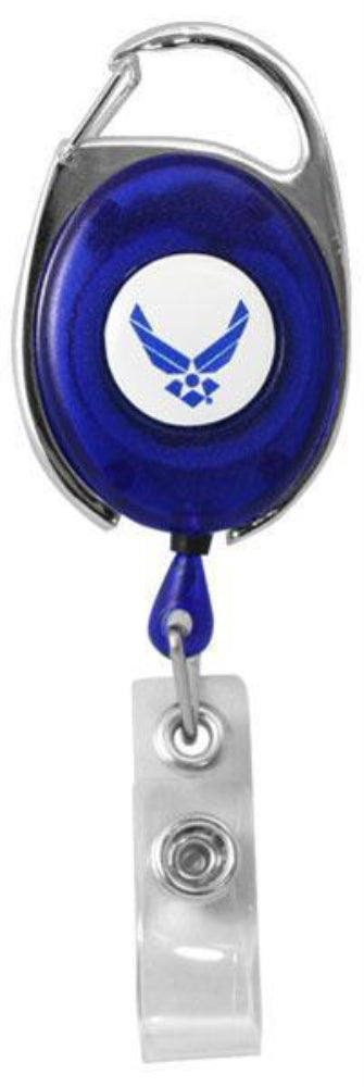 U.S. Air Force Wings Retractable Badge Holder With Carabiner Clip