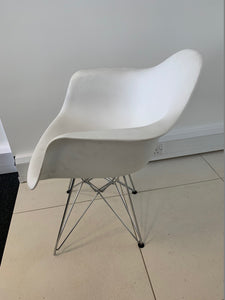 6-8 Person White Meeting Table With Charles Eames Style Chairs - Flogit2us.com