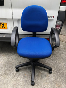 Blue Operators Chair With Arms - Flogit2us.com