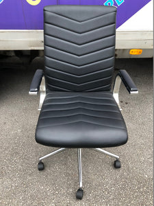 Black Faux Leather Executive Chair With Chrome Finish - Flogit2us.com