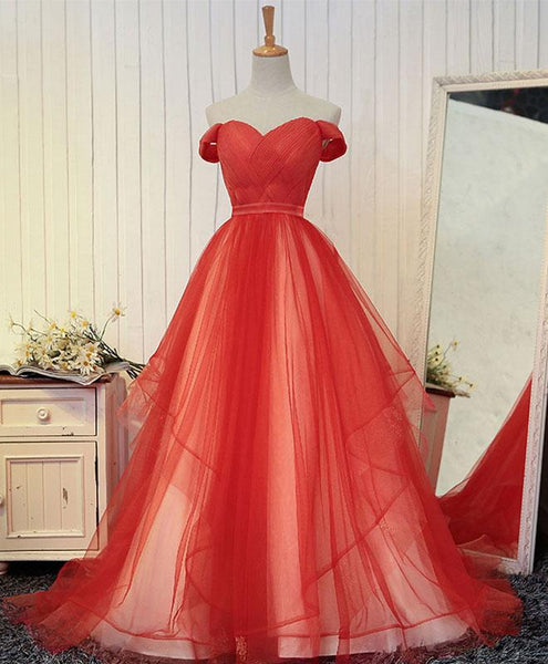 Gorgeous Red Tulle Party Gown, Off The Shoulder Formal Dress, Red Gown