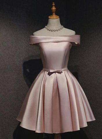 Cute Pink Satin Off Shoulder Knee Length Formal Dress, Lovely Prom Dress 2019