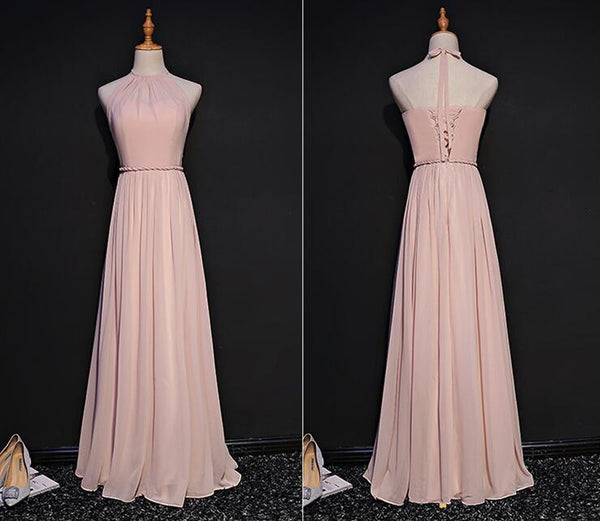 Simple Chiffon Halter Pink Open Back Bridesmaid Dress, Long Party Gown