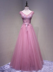 Pink V-neckline Tulle Charming Girls Senior Prom Dress, Beautiful Formal Gown 2019