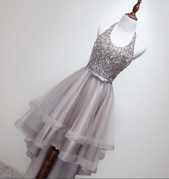 Grey Beaded Tulle High Low Halter Prom Dress, Chic Homecoming Dresses