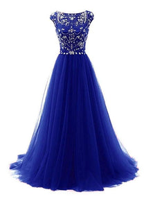 Gorgeous Cap Sleeves Beaded Top Long Prom Gown 2019, Handmade Formal Dresses