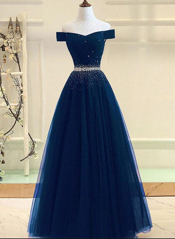 Charming Navy Blue Off Shoulder Floor Length Beaded Party Dress, Party Dress 2019