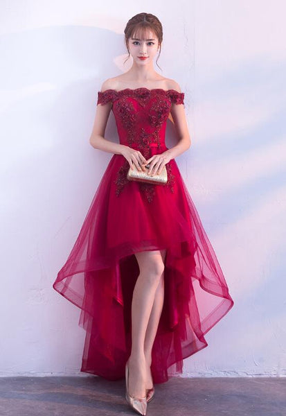 Wine Red Tulle Homecoming Dress 2019, Beautiful Party Dress