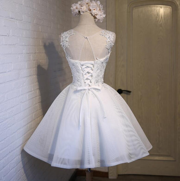 White Simple Graduation Dress 2019, Lovely Party Dresses 2019, Formal Dress