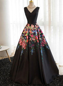 black satin floral dress