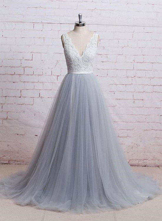 Grey Tulle with White Lace Long Bridal Gown, Beautiful Wedding Party Dresses 2019