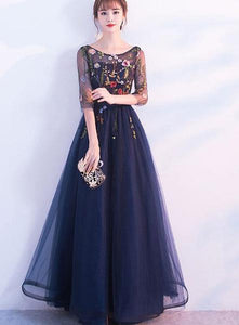 Beautiful Navy Blue Floral Lace A-line Prom Dress 2019, Charming Formal Gown