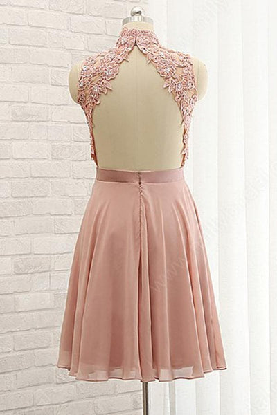 Lovely Knee Length Chiffon with Lace Top Bridesmaid Dress, Formal Dress 2019
