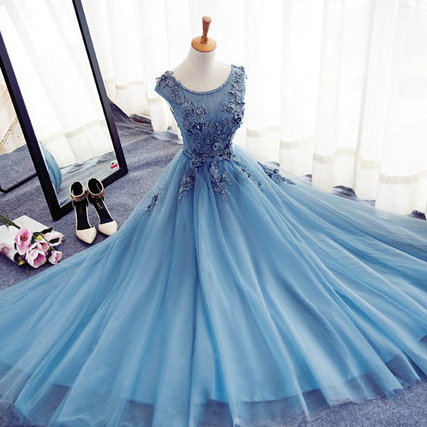 Blue Round Neckline Long Applique Elegant Senior Formal Dress, Long Party Gowns