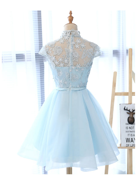 Cute Light Blue Tulle with Lace Party Dress 2019, Beautiful Short Classical Formal Dress